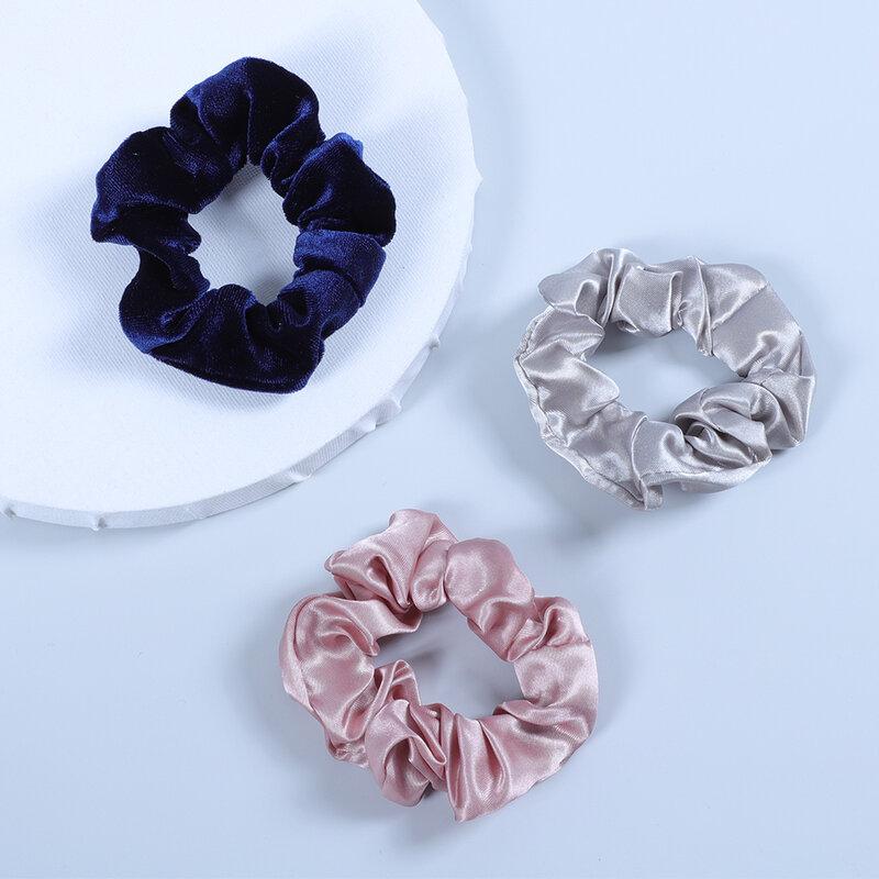 3 sztuk/zestaw moda damska satyna jedwabna włosy loki czysta stretch elastyczna opaska do włosów prosta i elegancka gumka kucyk tie