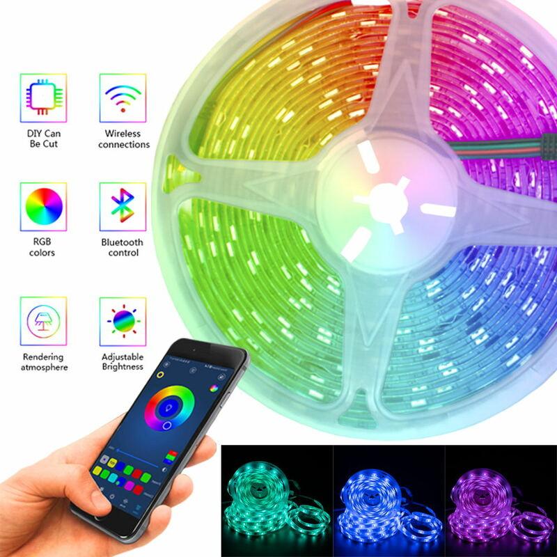 Bluetooth cintas de Luz LED RGB SMD 5050 impermeable Flexible cinta de DC12V 5M 10M 15M 20M Control Remoto + WIFI adaptador de Luz Led