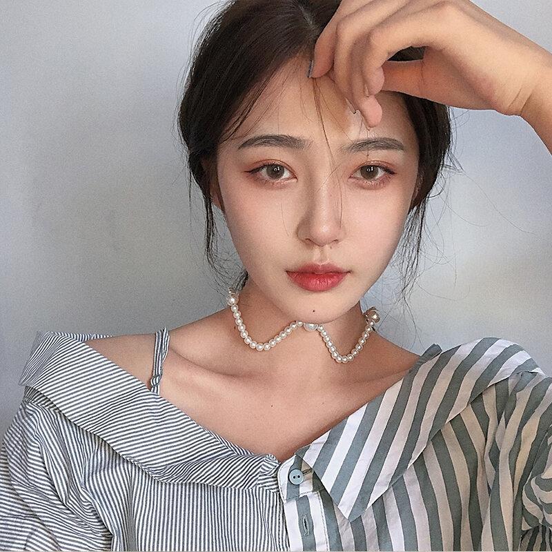 Hyuna-collar de perlas de doble uso, diadema con cordón de mismo estilo, cadena de clavícula ondulada, coreana, elegante, en línea