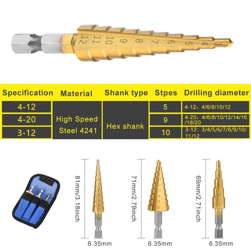 HSS 3-12mm 4-12mm 4-20mm Bohren Set Gerade Nut Schritt Set Titan beschichtetes Holz Metall Loch Cutter Core Metall Bohrer Sets