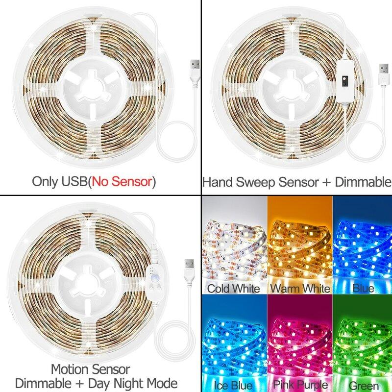 핸드 스윕 센서 LED 라이트 스트립 모션 센서 스위치 USB DC 5V SMD 2835 테이프 다이오드 TV 백라이트 주방 침대 룸 야간 조명