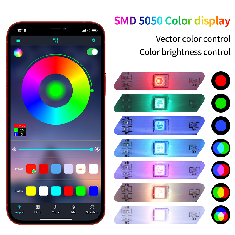 Strisce Led luci striscia Bluetooth Luces striscia Led RGB SMD 5050 2835 DC 12V lampada LED flessibile 5M 10M 15M 20M decorazione camera da letto nastro