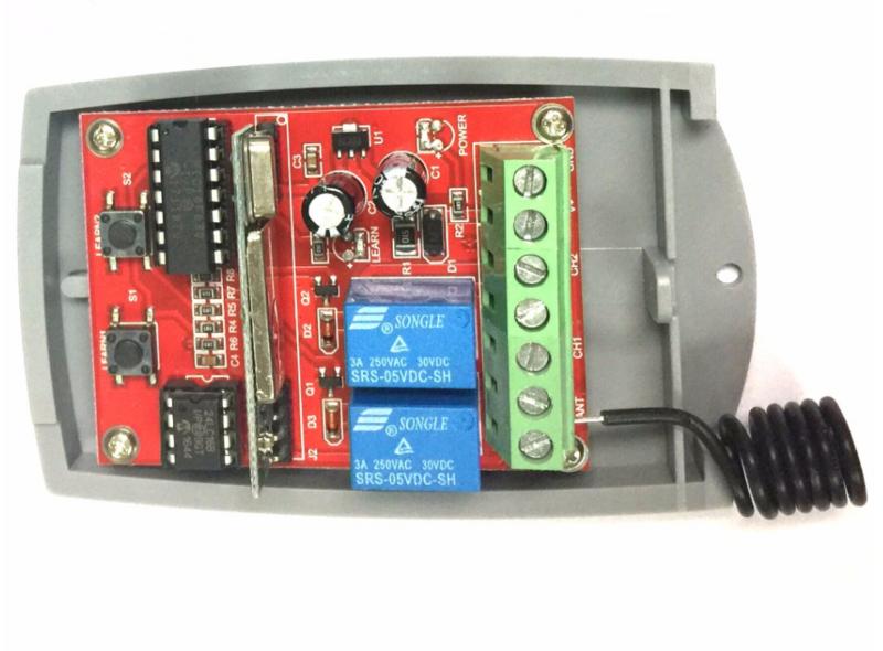 ل العالمي 2 قناة باب المرآب اللاسلكية المتداول رمز ثابت رمز DC12V-24V استقبال 433 ميجا هرتز التحكم عن بعد