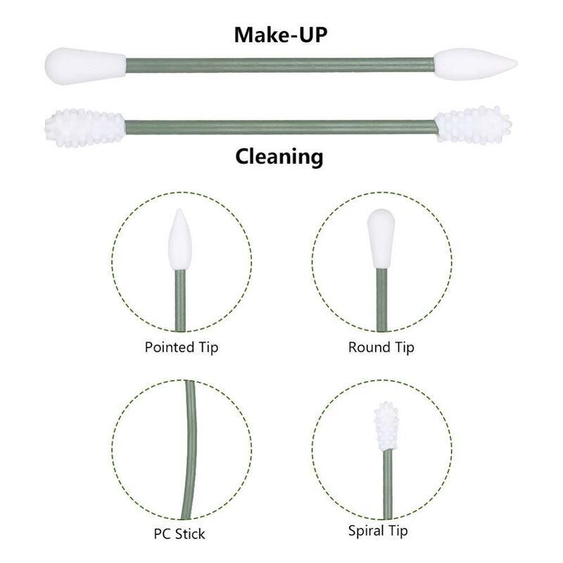 5 Teile/schachtel Wiederverwendbare Baumwolle Tupfer Doppel-headed Gesicht Ohr Reinigung Make-Up Kosmetische Entfernung Tragbare Silikon Knospen Tupfer Werkzeug