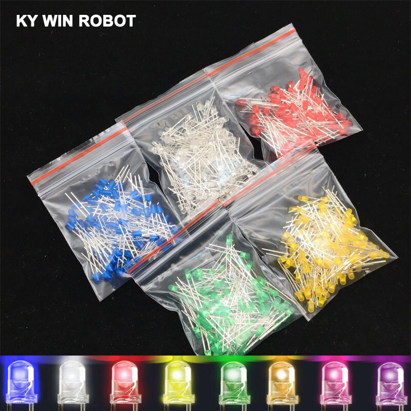 Rockyin 1000pcs color surtidos rojo//amarillo//azul//verde//blanco de 3 mm de luz LED Diodo emisor de la caja del kit