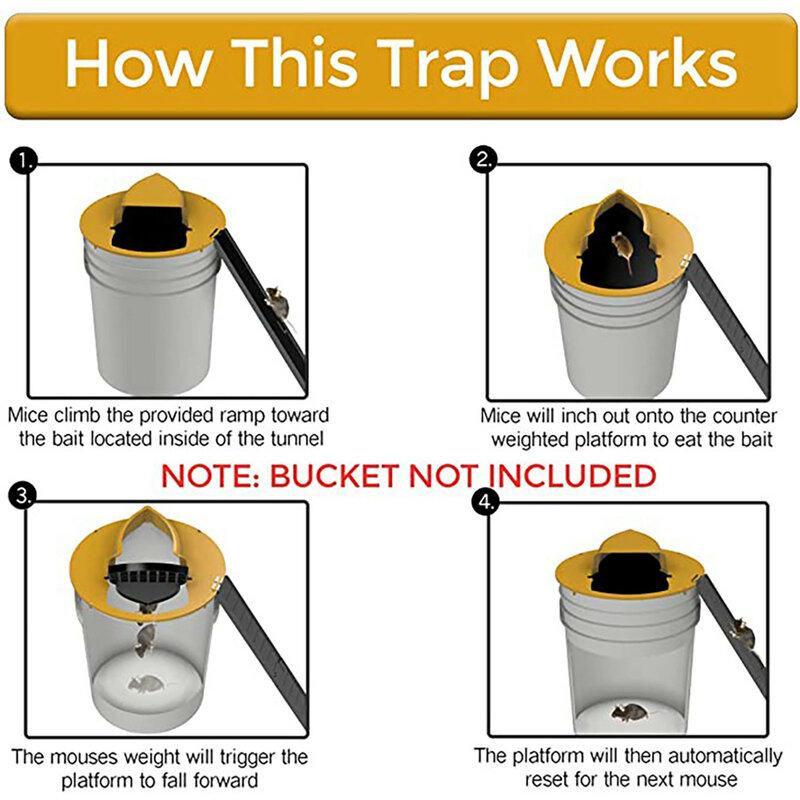 재사용 가능한 플라스틱 스마트 마우스 트랩 플립 N 슬라이드 버킷 뚜껑 마우스 쥐 마우스 트랩 자비 또는 치명적인 트랩 도어 스타일 멀티 캐치