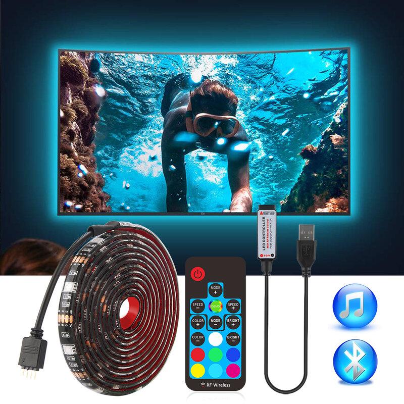 Usb led 스트립 5050 rgb tv 배경 조명 키트 cuttable ir rf 음악 블루투스 rgb led 컨트롤러, 0.5 m/1 m/2 m 세트
