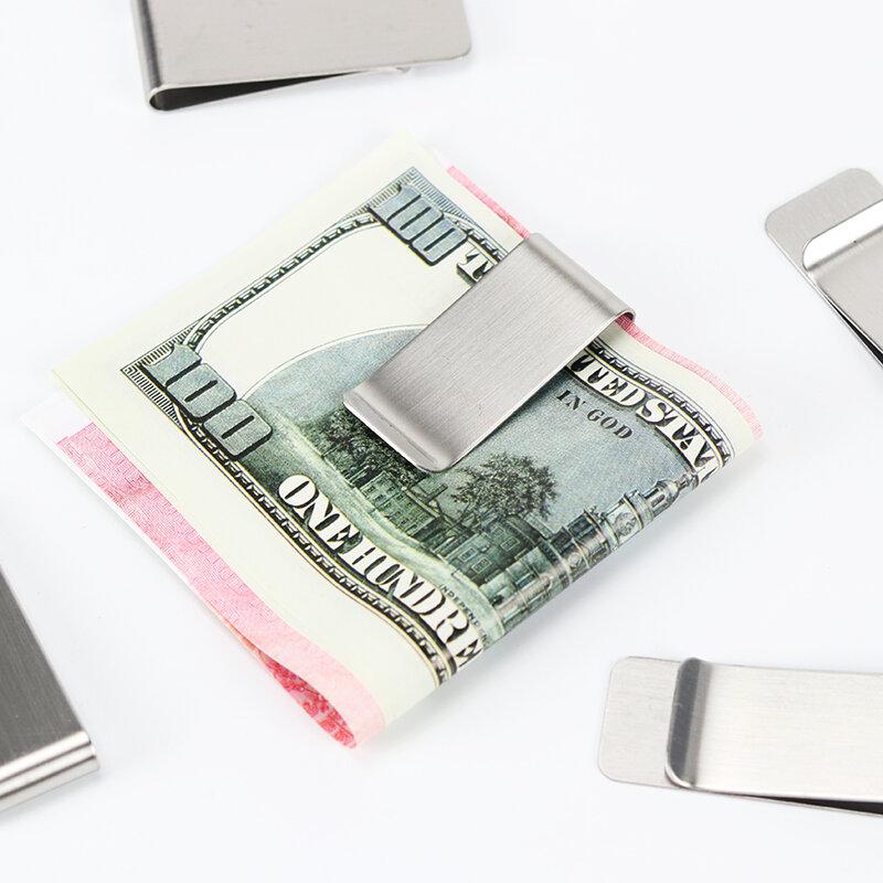 1PCคลิปเงินสดClampแบบพกพาสแตนเลสสตีลคลิปเงินกระเป๋าสตางค์สำหรับกระเป๋าโลหะเงิน