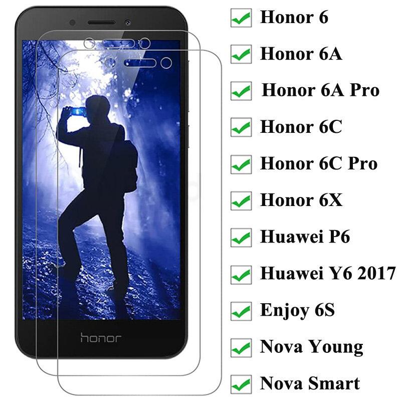 2PCS Protector de pantalla de vidrio templado para Honor 6 6A 6C Pro 6X 6 jugar protectora de vidrio para Huawei P6 disfrutar de 6S Nova joven inteligente Y6