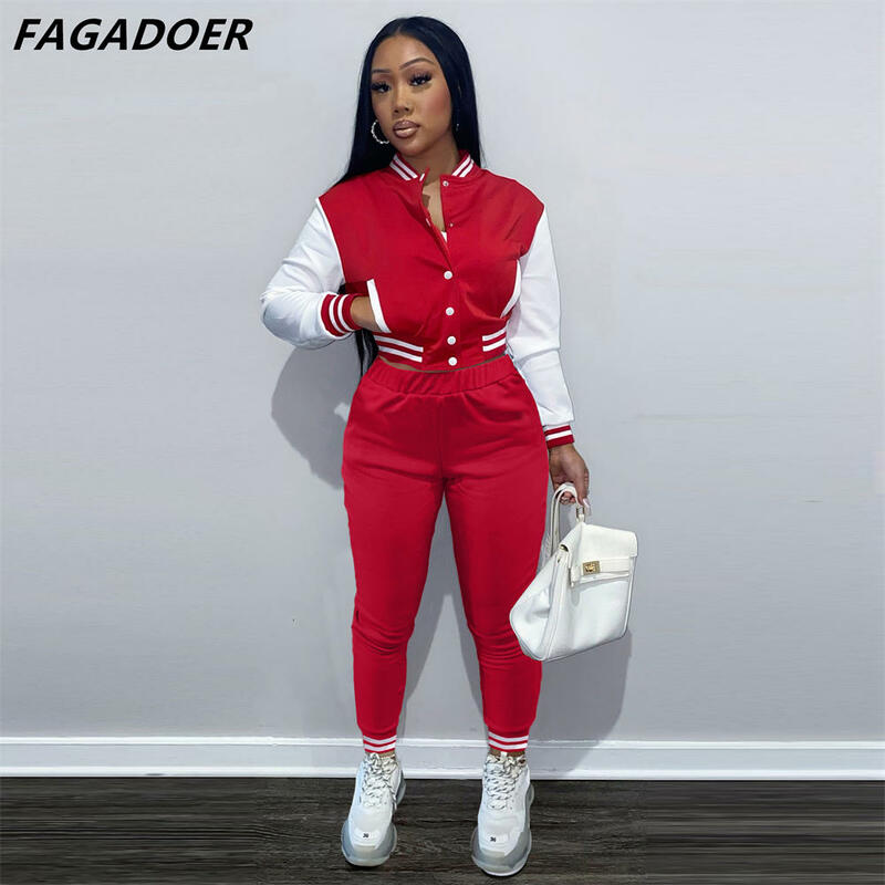FAGADOER 2021 New Sport Two Piece Sets Women Button Baseball Coat And Pants Suits Stripe Patchwork Tracksuit Outfits Streetwear