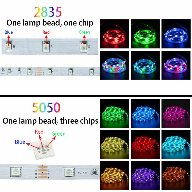 Luz LED con bluetooth RGB 5050 2835 DC 12v SMD flexible cinta de 20M 15M 10M 7,5 M 5M control Remoto + Adaptador + Bluetooth