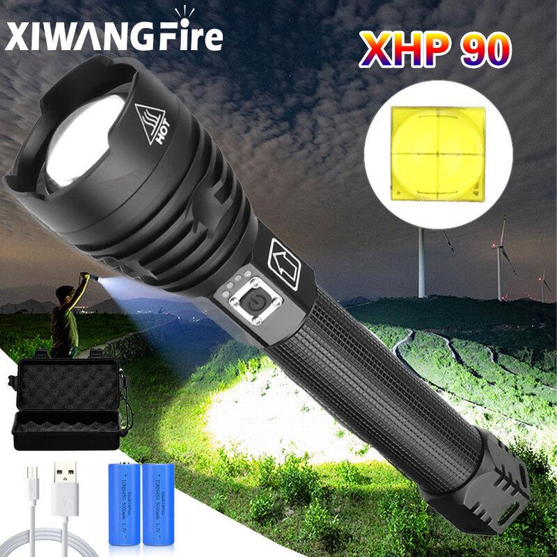 Xhp90.2-linterna Led potente Xhp70, recargable, uso de linterna 18650 o 26650, luz de Camping táctica Xhp50