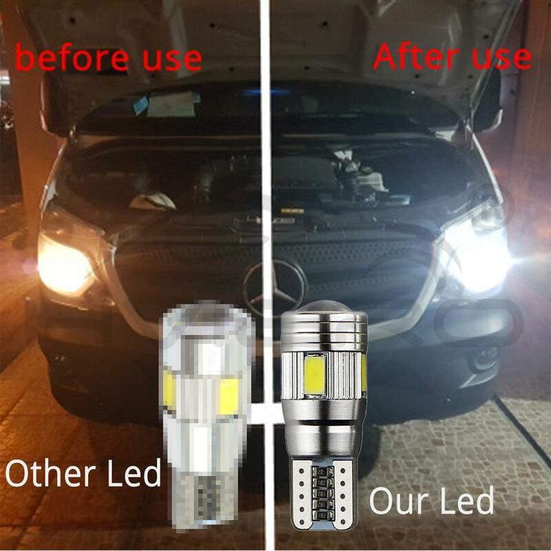 Luz LED CANBUS para Interior de xenón, proyector de lente 6SMD 5630, focos de aluminio sólido, indicador lateral de estacionamiento, color blanco, azul y amarillo, 10 Uds.