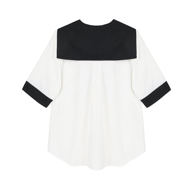Japanese Style Sailor Collar Hit Color Cardigan Top Women Summer 2021 New Hit Color Design Female Elegant Temperament Blusas