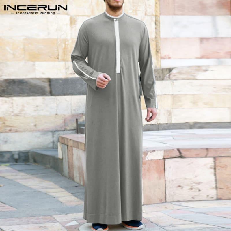 Islámica De La Ropa De Los Hombres Musulmanes Kaftán árabe 2021 Collar Manga Larga Batas De Arabia Saudita Dubai Hombres Jubba Thobe Incerun Bestdealplus