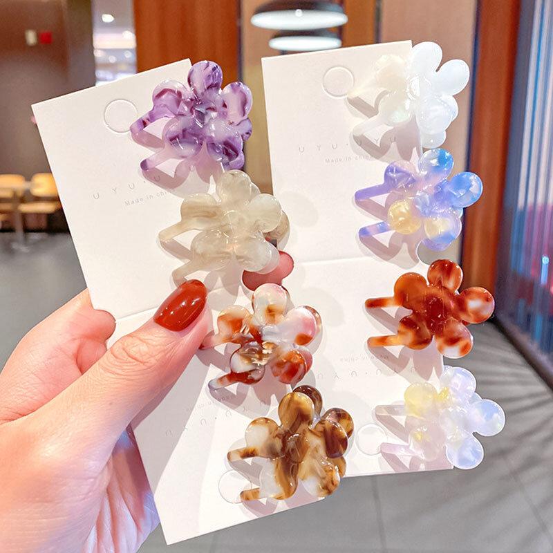 Pinzas para el pelo de flores pequeñas para mujer, accesorios de cabello para niña Vintage de acetato Multicolor, horquilla de cabello para niña, sombreros coreanos al por mayor