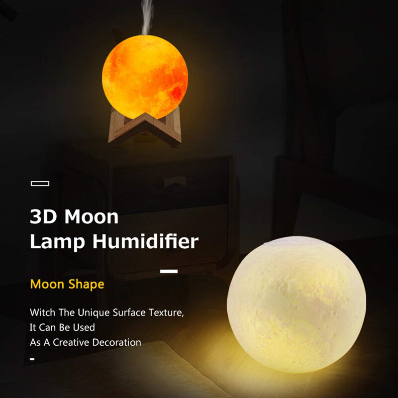 880ML Mond Lampe Usb-luftbefeuchter Ultraschall Ätherisches Öl Diffusor Nebel Maker Haushalts 3 Farbe Nacht Licht