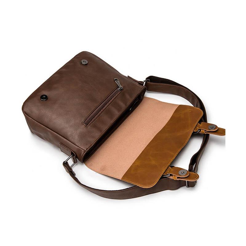 Versatile Hasp Brown Men Messenger Bag Vintage Shoulder Crossbody Bags For Men Classic Leather Male Sling Bags