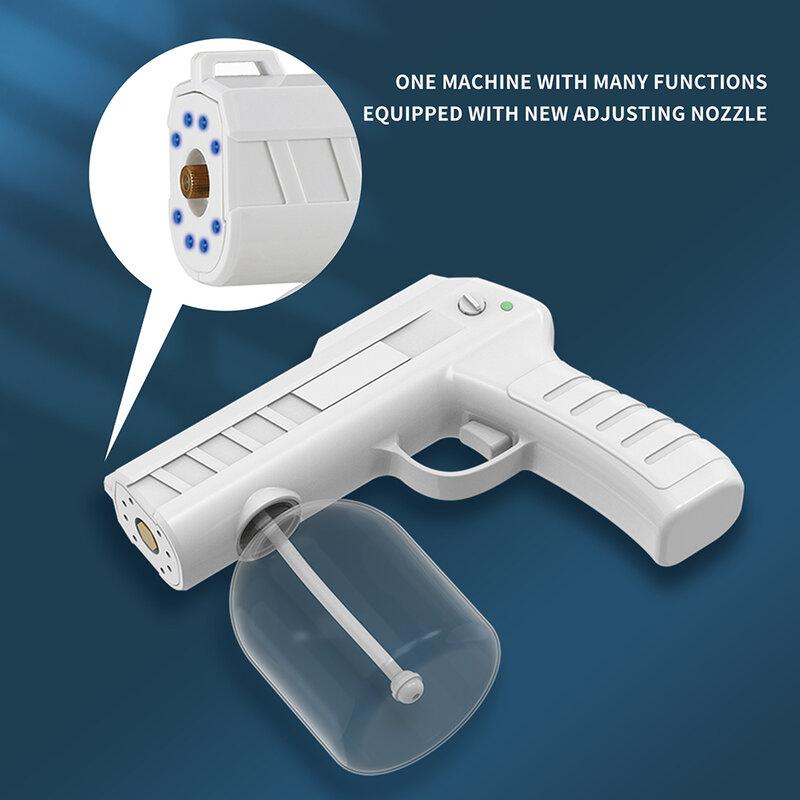 Pistola per nebulizzazione disinfettante elettrica USB portatile con luce blu Nano atomizzatore nebulizzatore per nebulizzatore per scuola o giardino per ufficio a casa