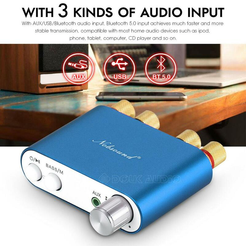 Nobsound HiFi 100W Mini TPA3116 amplificateur numérique Bluetooth amplificateur stéréo HiFi récepteur Audio USB DAC avec alimentation