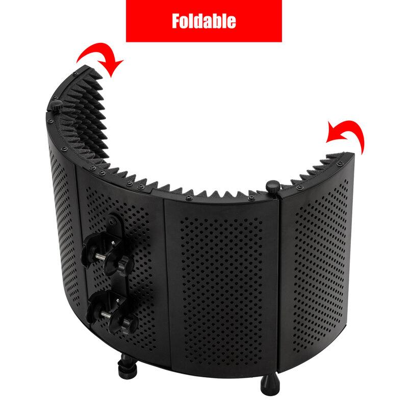 무료 팝 필터 무료 마이크를 사용하여 홀더가있는 바닥을 사용하는 마이크 흡음 후드 데스크탑