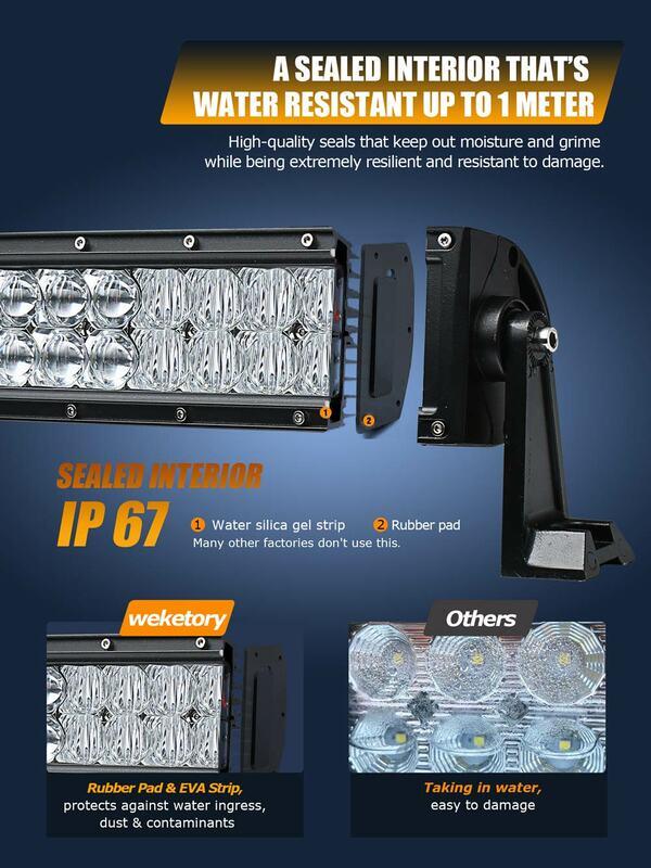 Weketory 5D 22 32 42 52นิ้ว200W 300W 400W 500WไฟLEDทำงานLight Barสำหรับรถแทรกเตอร์OffRoad 4WD 4X4รถบรรทุกSUV ATV