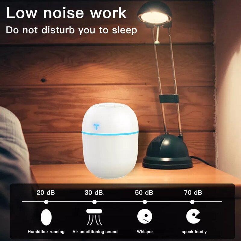 Umidificatore d'aria Mini ultrasuoni USB diffusore di olio essenziale purificatore per auto Aroma anione nebulizzatore per auto domestica con lampada da notte a LED