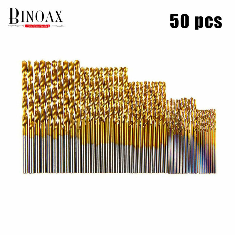 BINOAX 50 قطعة مجموعة لقمة مثقاب صغير HSS التيتانيوم مايكرو لقمة ثقب للمعادن البلاستيك الخشب 1/1.5/2/2.5/3 مللي متر