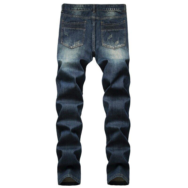 Pantalones Vaqueros Vintage Para Hombre Vaqueros Rotos Plisados Con Agujero Roto Hip Hop Largos Informales Ropa De Calle Jb921 Vaqueros