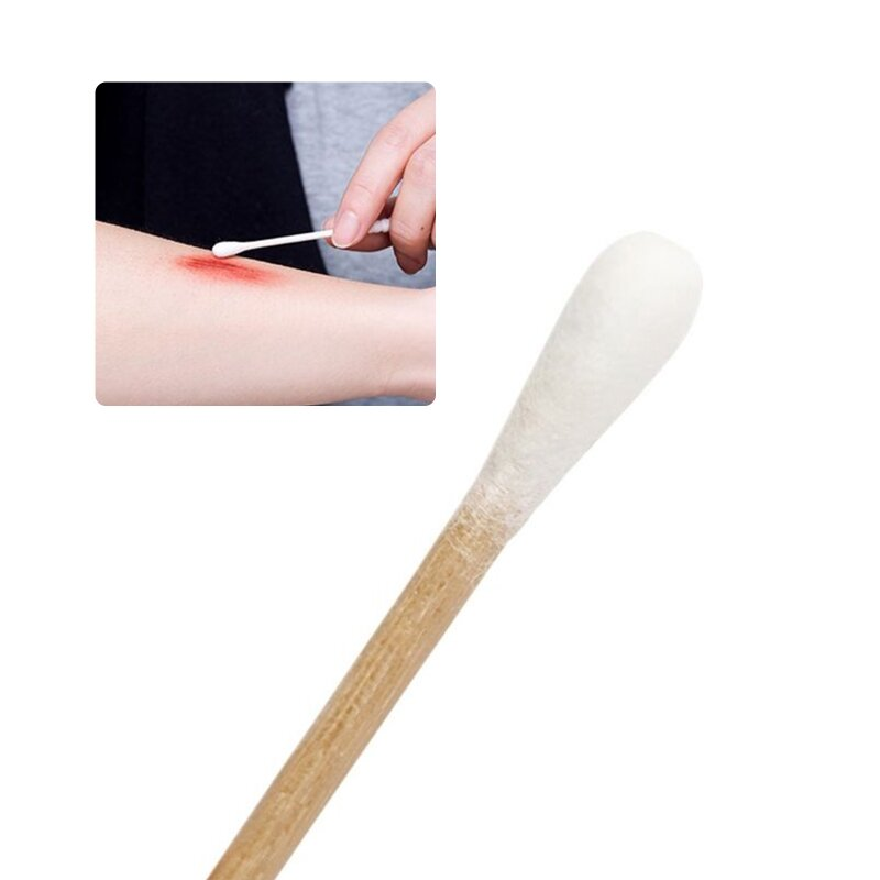 100/200Pcs 6 Inch Lange Holzgriff Baumwolle Tupfer Single-Kopf Reinigung Sterile Sticks Applikator für Wunde sauber Make-Up