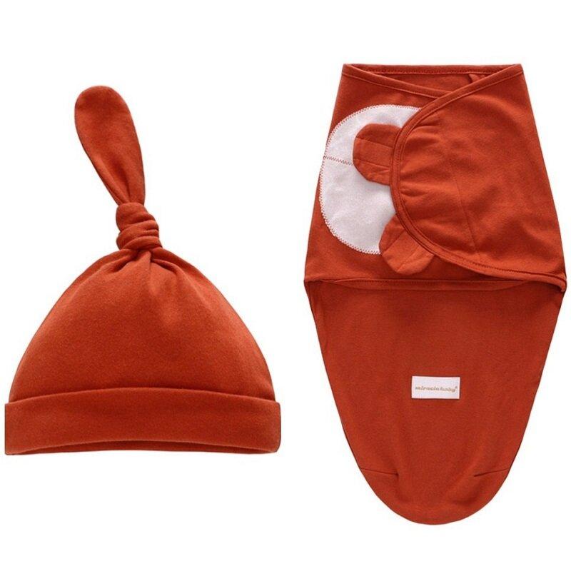 Envoltura para recién nacido de 0 a 6 meses, manta antigolpes para bebé, sombrero, saco de dormir, conjunto KF669