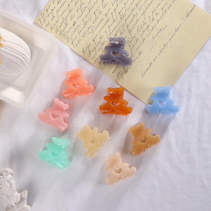 Pinzas para el pelo de oso translúcido para niña, horquillas de dibujos animados de corazón Kawaii, accesorios para el cabello