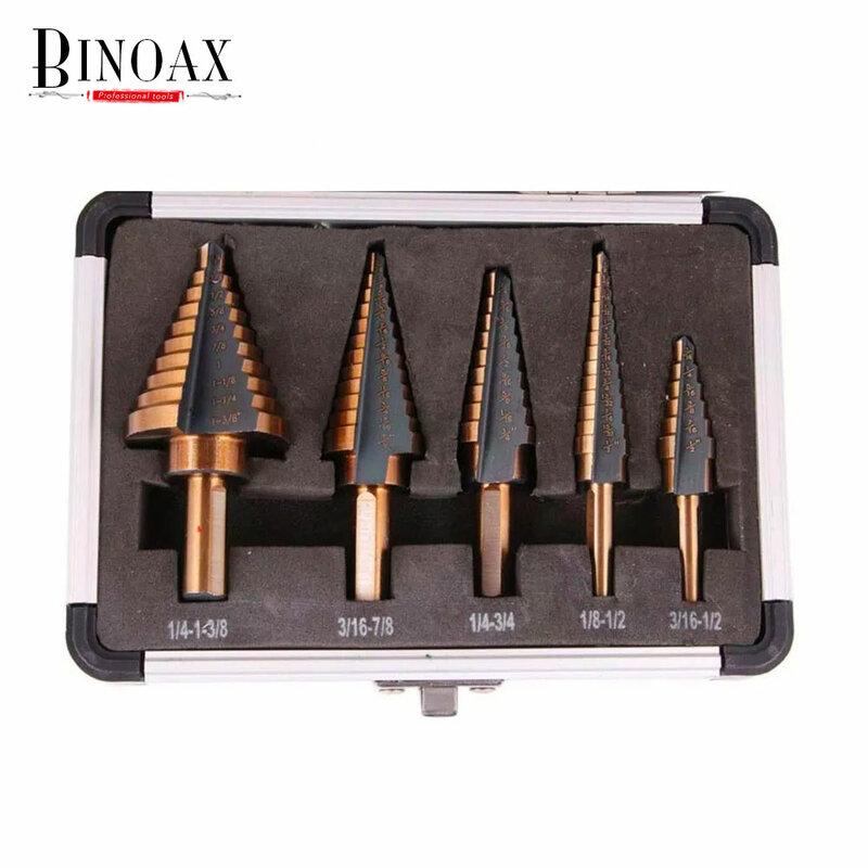 BINOAX 5 قطعة/المجموعة HSS الكوبالت متعددة حفرة 50 أحجام خطوة مجموعة لقمة مثقاب مع الألومنيوم