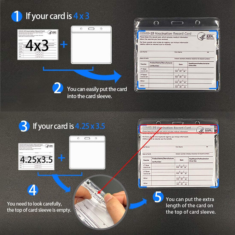 CDC 예방 접종 카드 보호대 4X3 인치 예방 접종 기록 백신 카드 커버 홀더 투명 방수 유형 Resealable Zip