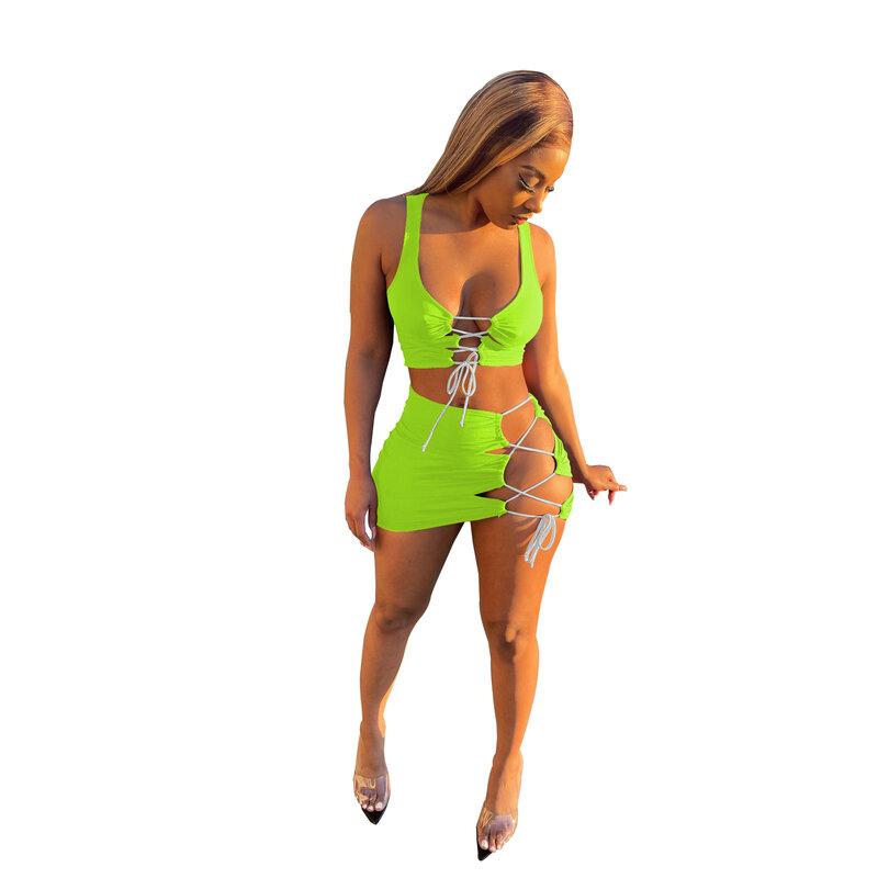 ฤดูร้อน2ชิ้นชุดเซ็กซี่ Lace Up Crop Tops มินิกระโปรงชุดผู้หญิงชุดปาร์ตี้คลับชุดจับคู่ tracksuit