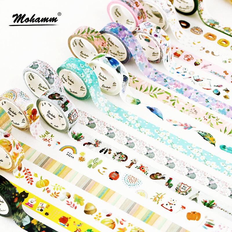 Ruban décoratif Washi 15mm X 7m, bande de masquage pour Scrapbooking, fournitures scolaires et de bureau