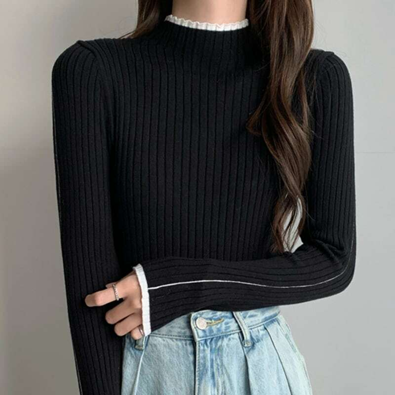 2020 New Autumn and Winter Half-High Collar Sweater Bottoming Shirt Female Slim Fit Inner Wear Western Style
