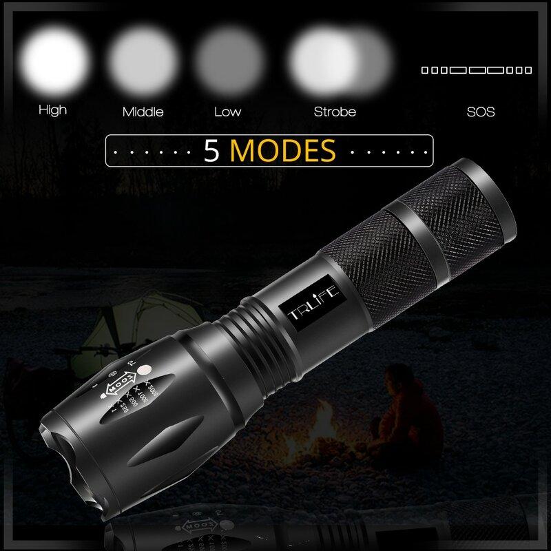 Torcia a LED Lanterna V6 L2 torcia tattica Zoomable LED Flash Light Lamp 5 modalità utilizzare batteria ricaricabile 3xAAA o 1x18650