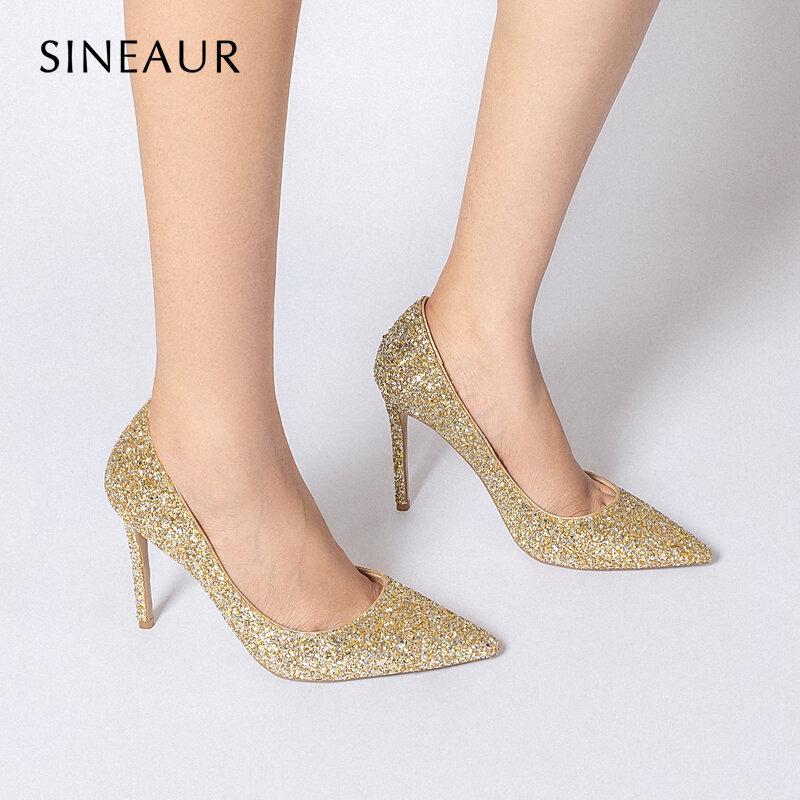 SINEAUR kobiety buty Bling Bling złoty cienki obcas Super wysokie szpilki świecący brokat Sexy moda szpiczasty nosek pompy duży rozmiar 35-45