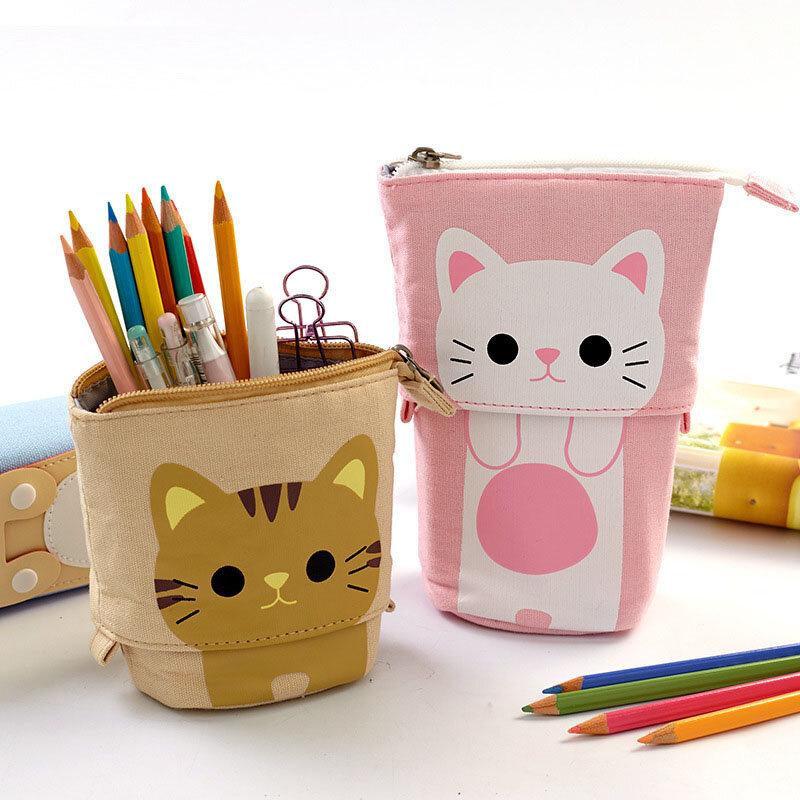 Astuccio per matite simpatico cartone animato borsa di tela piega supporto in piedi astucci per matite borse cartoleria organizzatore per ragazzi e ragazze borse per matite