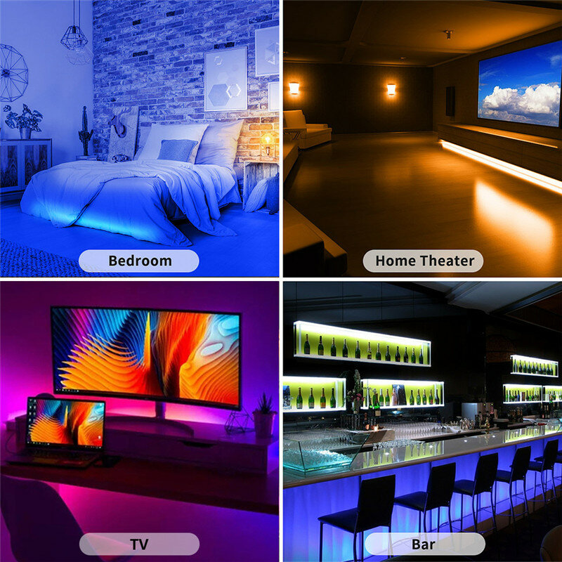 LED 스트립 빛 블루투스 RGB SMD 2835 5050 DC12V 유연한 LED LampRibbon 풀 세트 5M 10M 15M 20M 테이프 다이오드 거실