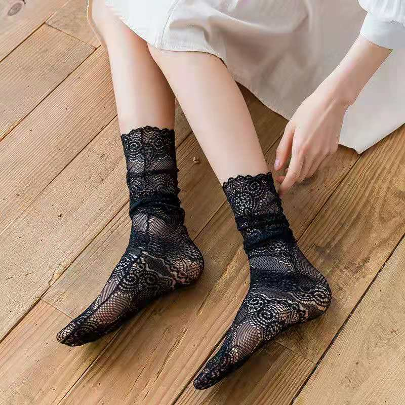 HYRAX Silk Socks 5 Pairs Flower socks Cat Bullock Women Embroidery Crew Cotton Colorful Thin Skin Butterfly Rose Women Socks