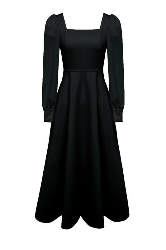 GUOGE kleid Französisch schwarz voll sleeved damen lange rock 2021 neue frühling retro platz Hepburn stil quadrat kragen kleid mode