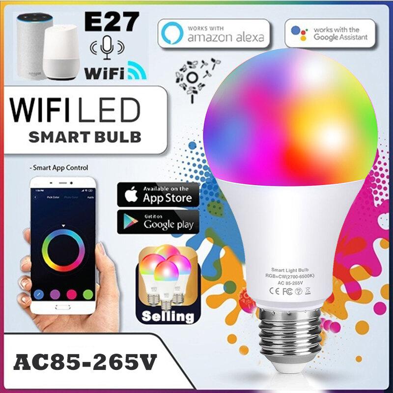 스마트 와이파이 전구 RGB B22 E27 앱 제어 연결 Alexa Led 조명 또는 원격 제어 Led 램프, 파티 장식 램프 홈 오토메이션
