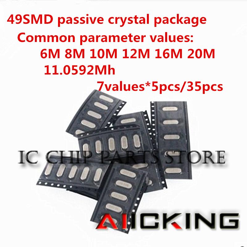 35 stücke SMD 49SMD passive kristall paket 6M 8M 10M 12M 16M 20M 11,0592 mh 7 arten von gemeinsame parameter werte 5 stücke jeder/einem paket