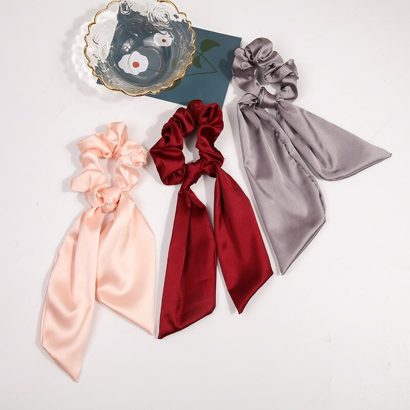 Autumn and Winter French Satin Bow Ribbon Large Intestine Net Red Ins Wind Hair Band Ribbon Tie-up Hair Lazy Headband