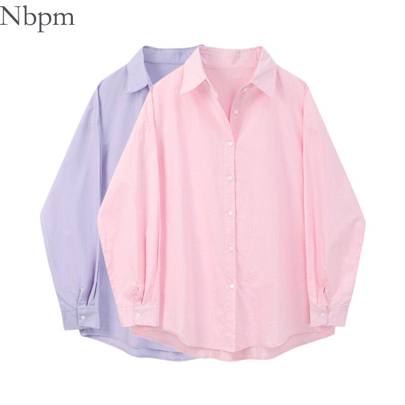 Nbpm 2021แฟชั่นผู้หญิงเสื้อฤดูใบไม้ผลิแขนยาวเสื้อเสื้อผ้าผู้หญิง Blusas Mujer Elegant เสื้อผู้หญิงสีชมพูเส...