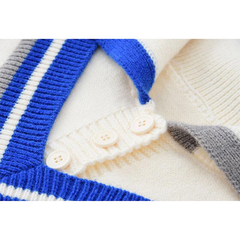 Damskie koreańskie modne dzianinowe swetry fałszywe dwa swetry 2021 jesienne Polo-Neck z długim rękawem eleganckie, na co dzień w stylu Top z dzianiny