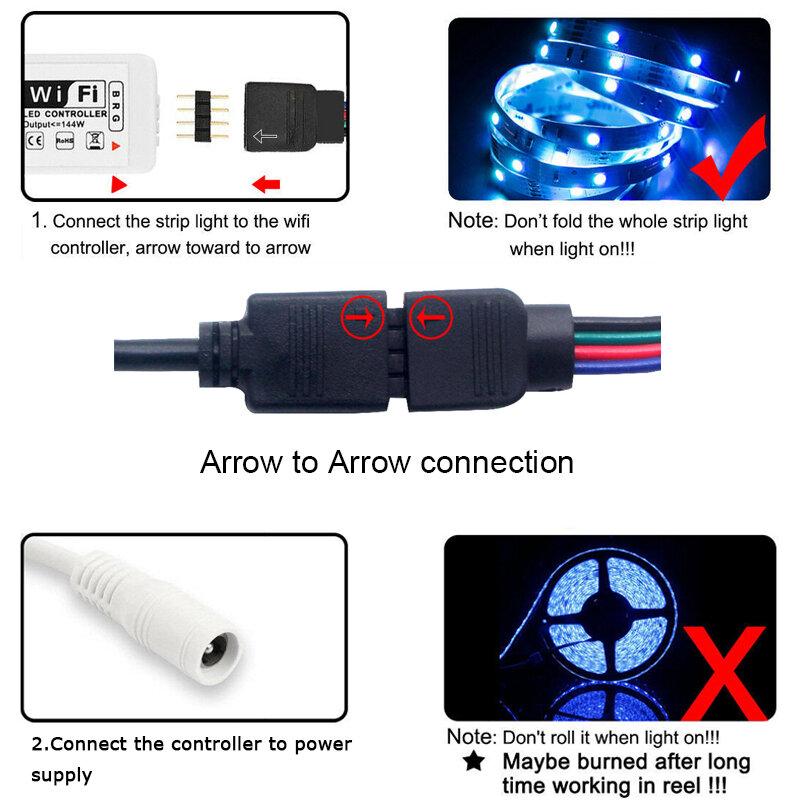 LED luces de tira RGB Bluetooth WIFI 5-20M impermeable SMD 2835/5050 DC 12V cinta Flexible Neno para decoración de la habitación de tiras Led