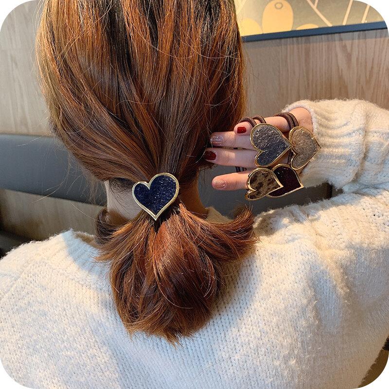 Women's Simple Ins Hair Accessories Hair Band Korean Mori Internet Influencer Elegant Heart Hair Rope Rubber Band Female
